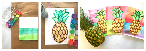Realistic Pineapple Art Lesson