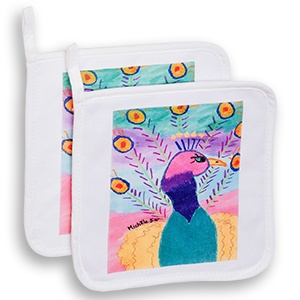 this set of 2 pot holders is sure to be a hit in the kitchen each pot holder displays artwork on a white background to make a colorful