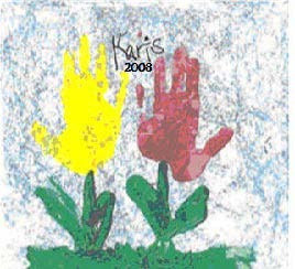 Handstamp Flower Painting Art
